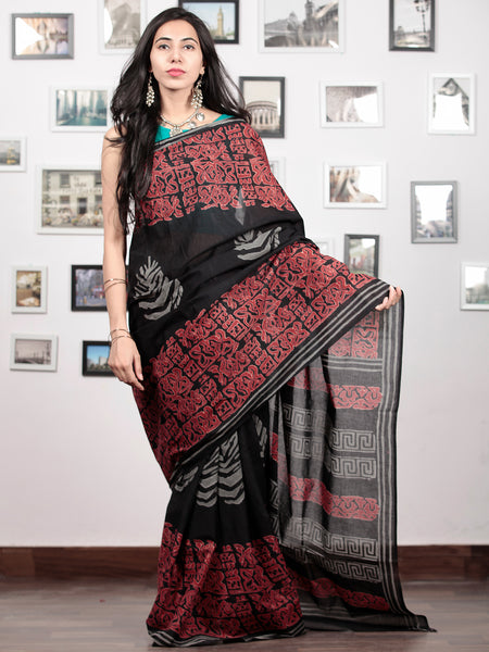 Black Crimson Red Grey Hand Block Printed Cotton Mul Saree   - S031703039