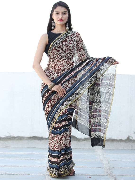 Ivory Maroon Indigo Hand Block Printed Chiffon Saree with Zari Border - S031703935