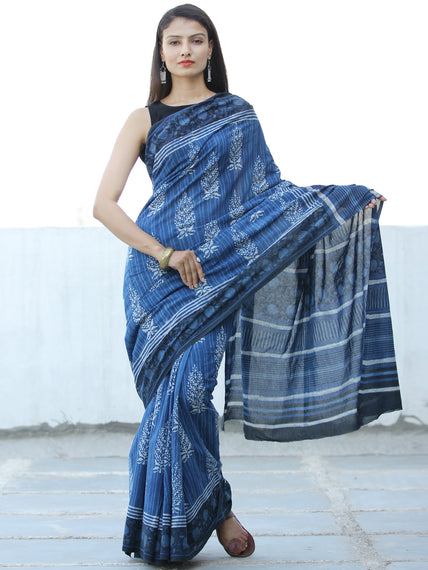 Indigo White Black Hand Block Printed  Cotton Mul Saree - S031703978