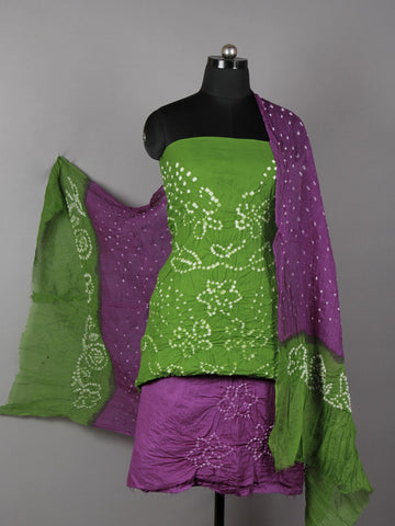 Green Purple White Hand Tie & Dye Bandhej Suit Salwar Dupatta (Set of 3)  - S16281264