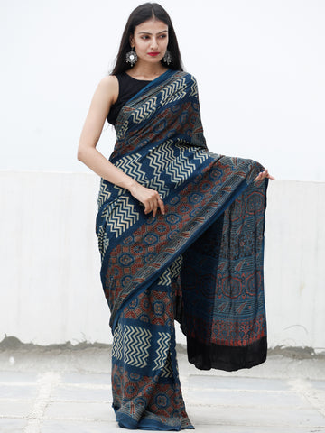 Indigo Maroon Beige Black Ajrakh Hand Block Printed Modal Silk Saree in Natural Colors - S031703719