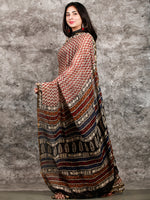 Ivory Black Maroon Hand Block Printed Chiffon Saree with Zari Border - S031703229