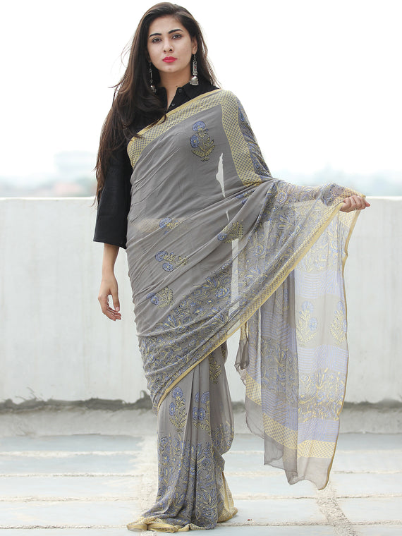 Grey Blue Yellow Hand Block Printed Chiffon Saree with Zari Border - S031703951