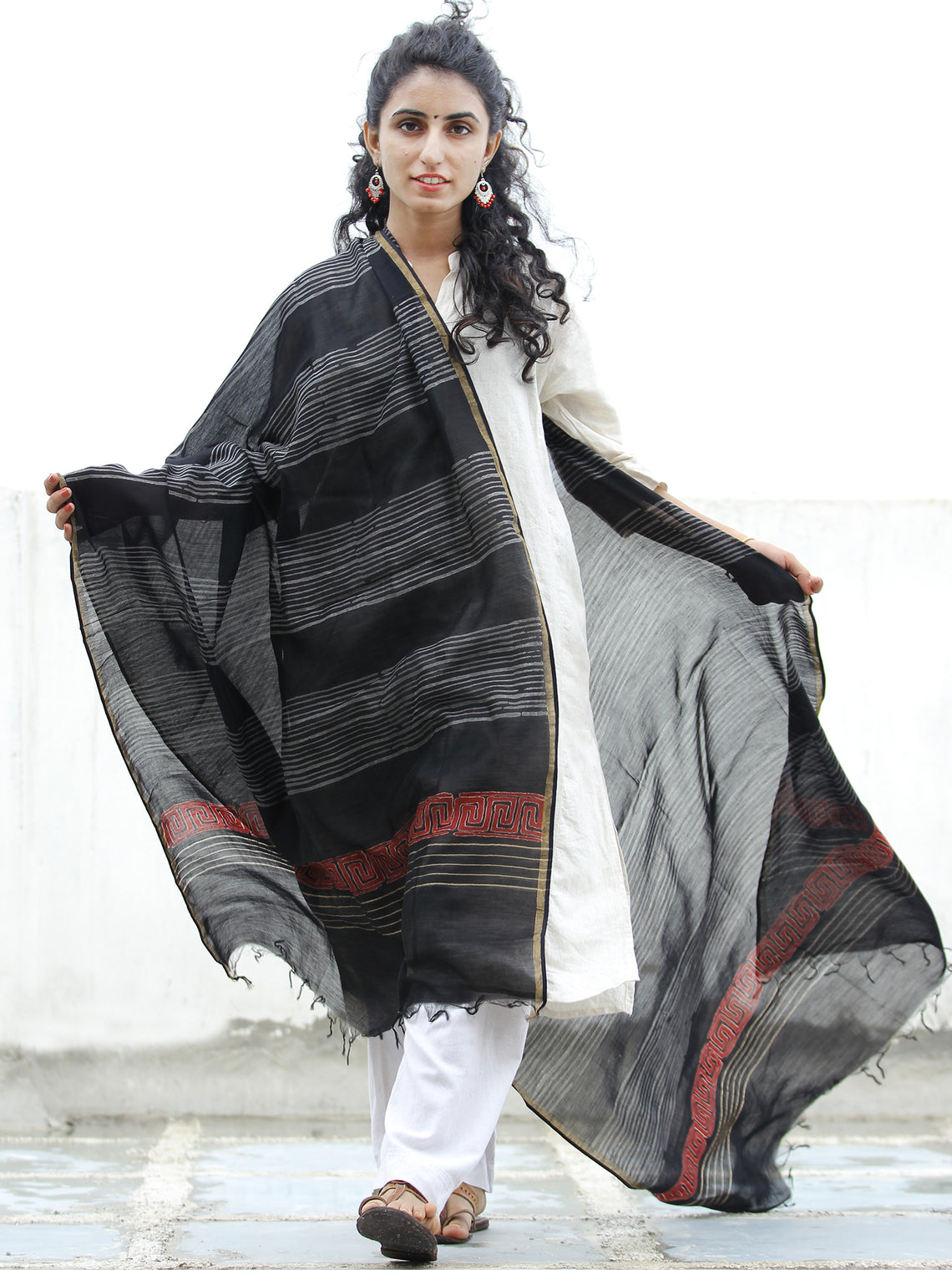 Black Grey Red Chanderi Hand Block Printed Dupatta - D04170323