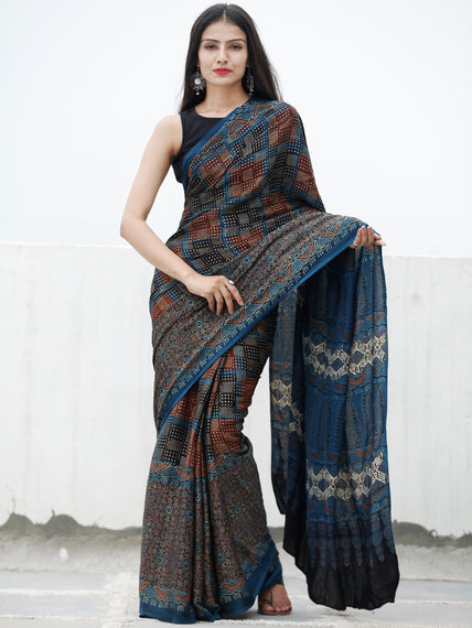 Indigo Maroon Beige Black Ajrakh Hand Block Printed Modal Silk Saree in Natural Colors - S031703720