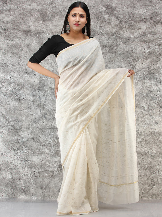 White Golden Hand Block Printed Maheshwari Silk Saree With Zari Border - S031704514