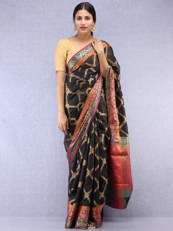 Banarasee Cotton Silk Saree With Zari Work - Black Pink & Antique Gold - S031704430