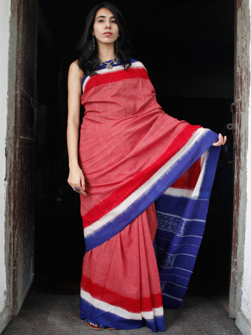 Red Royal Blue White Double Ikat Handwoven Cotton Saree - S031703536