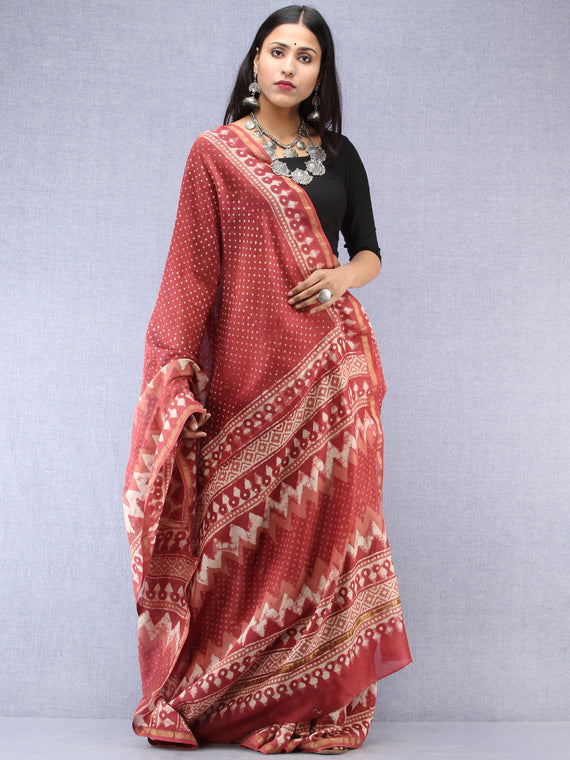 Rosewood Ivory Hand Block Printed Maheshwari Silk Saree With Zari Border - S031704527