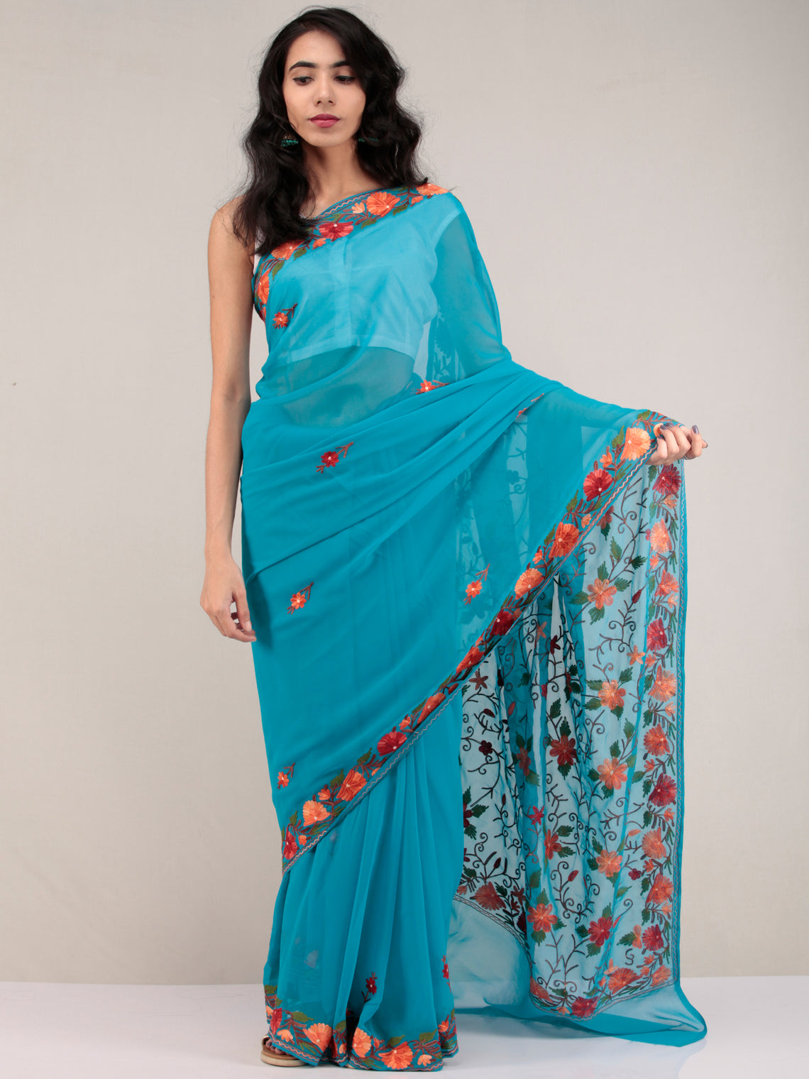 Blue Aari Embroidered Georgette Saree From Kashmir - S031704649
