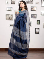Indigo White Chanderi Silk Hand Block Printed Saree With Zari Border - S031703179