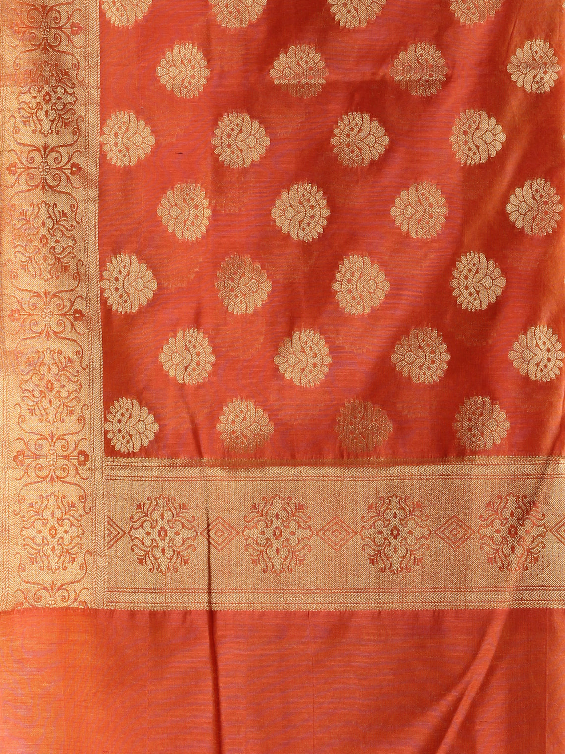 Banarasi Chanderi Dupatta With Resham Work - Orange & Gold - D04170815