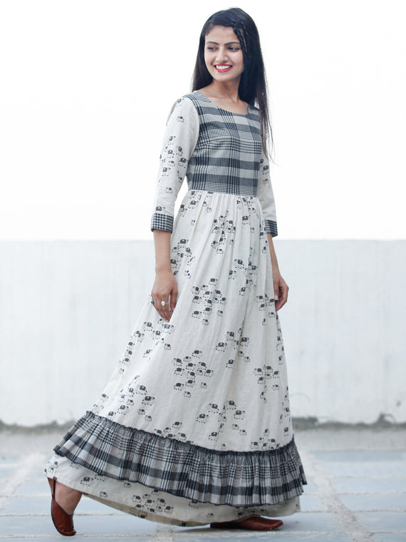 Casual Checks  - Block Printed Long Cotton Dress  - D353F1891