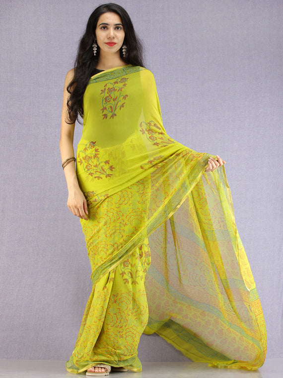 Lime Green Red Green Hand Block Printed Chiffon Saree with Zari Border - S031704608