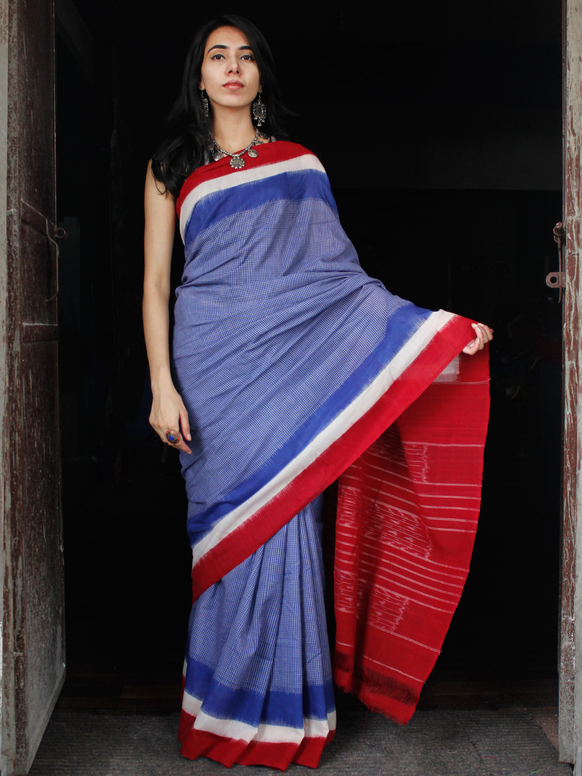 Royal Blue Red White Double Ikat Handwoven Mercerised Cotton Saree - S031703537