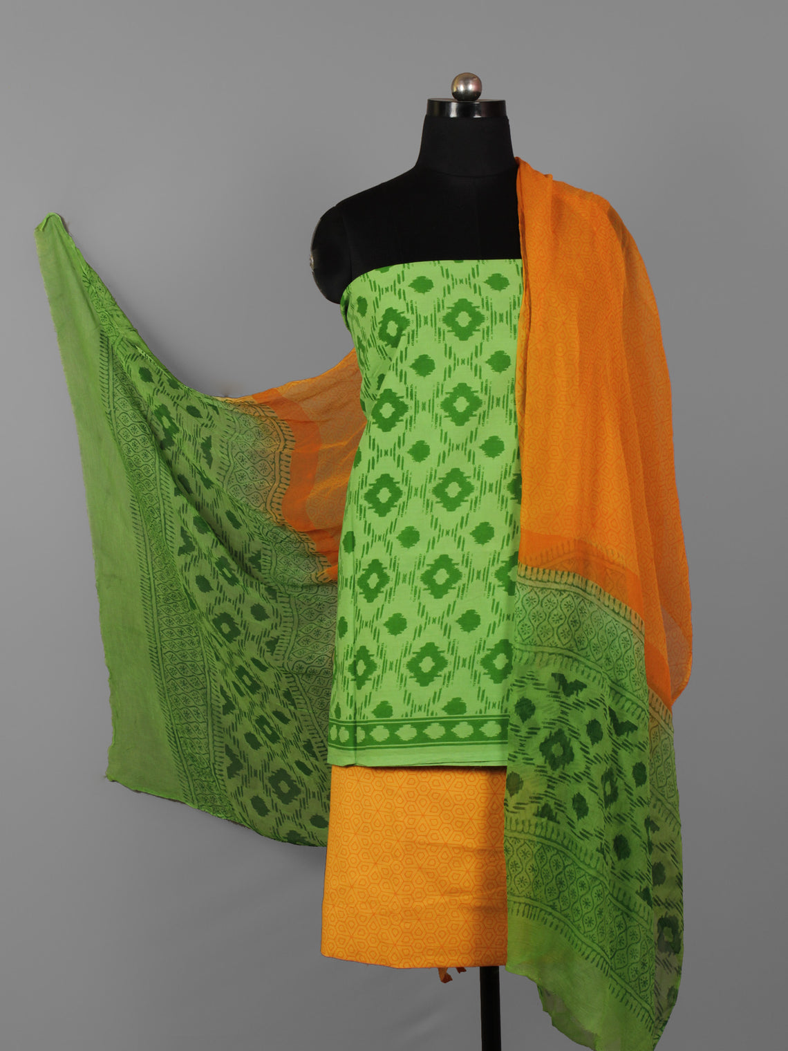 Green Orange Hand Block Printed Cotton Suit-Salwar Fabric With Chiffon Dupatta (Set of 3) - S16281304