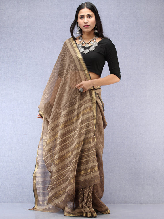 Kashish Ivory Hand Block Printed Maheshwari Silk Saree With Zari Border - S031704528