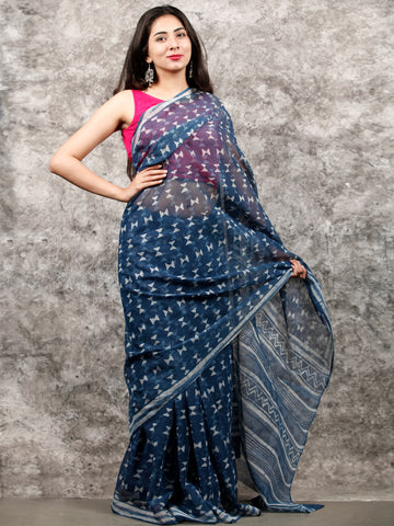 Indigo White Hand Block Printed Kota Doria Saree In Natural Colors - S031703216