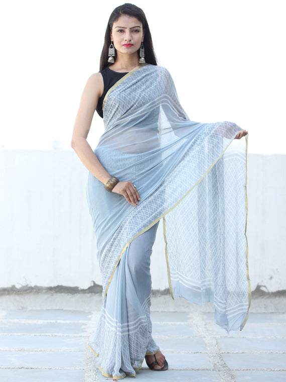 Pastel Blue White Hand Block Printed Chiffon Saree with Zari Border - S031703937
