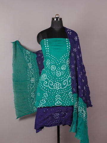 Teal Green Indigo White Hand Tie & Dye Bandhej Suit Salwar Dupatta (Set of 3)  - S16281266