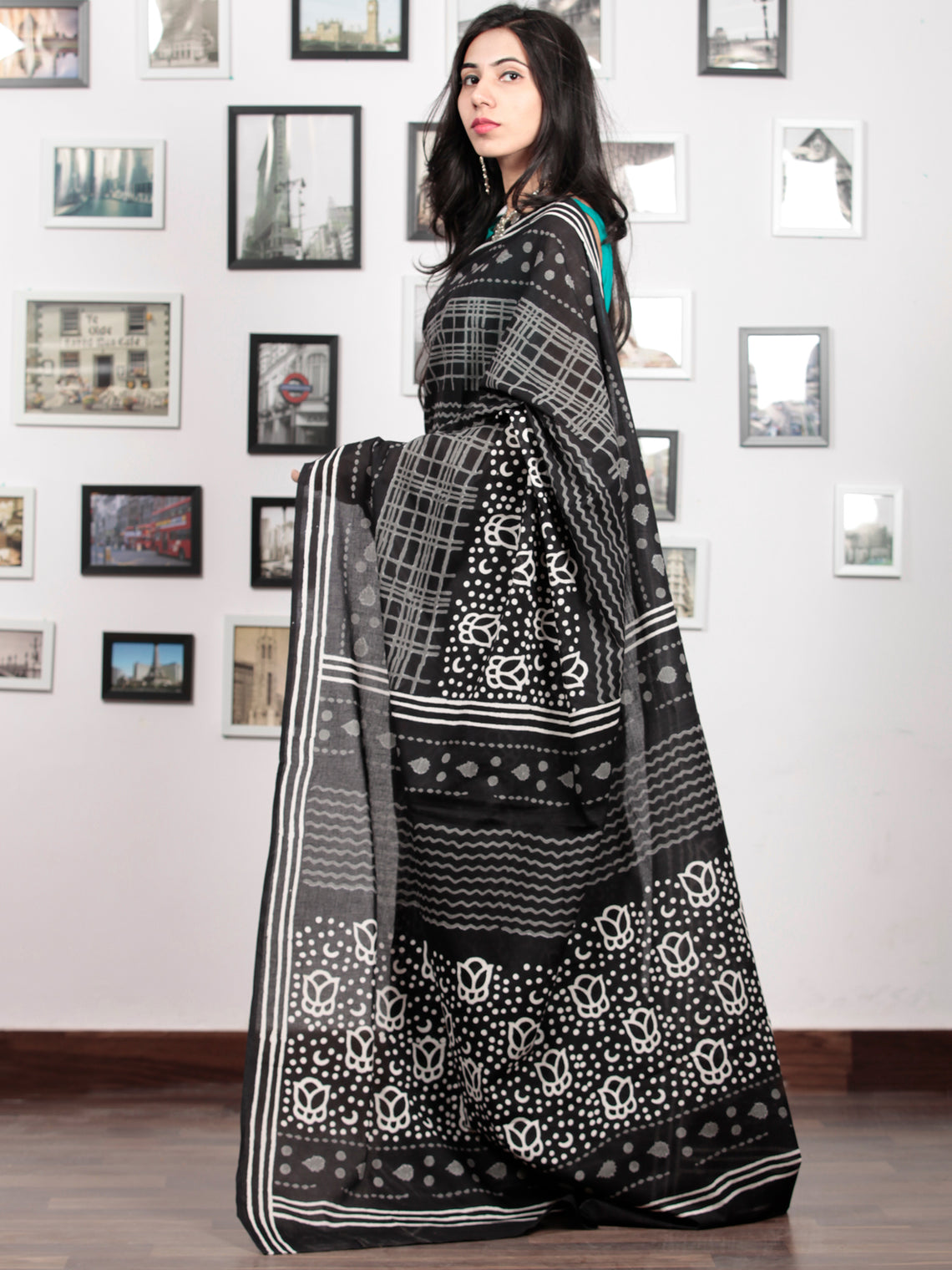 Black White Grey Hand Block Printed Cotton Mul Saree   - S031703041