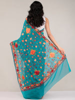 Sea Green Aari Embroidered Georgette Saree From Kashmir - S031704650