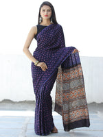 Indigo Pink Black Rust Bandhej Modal Silk Saree With Ajrakh Printed Pallu & Blouse - S031703872