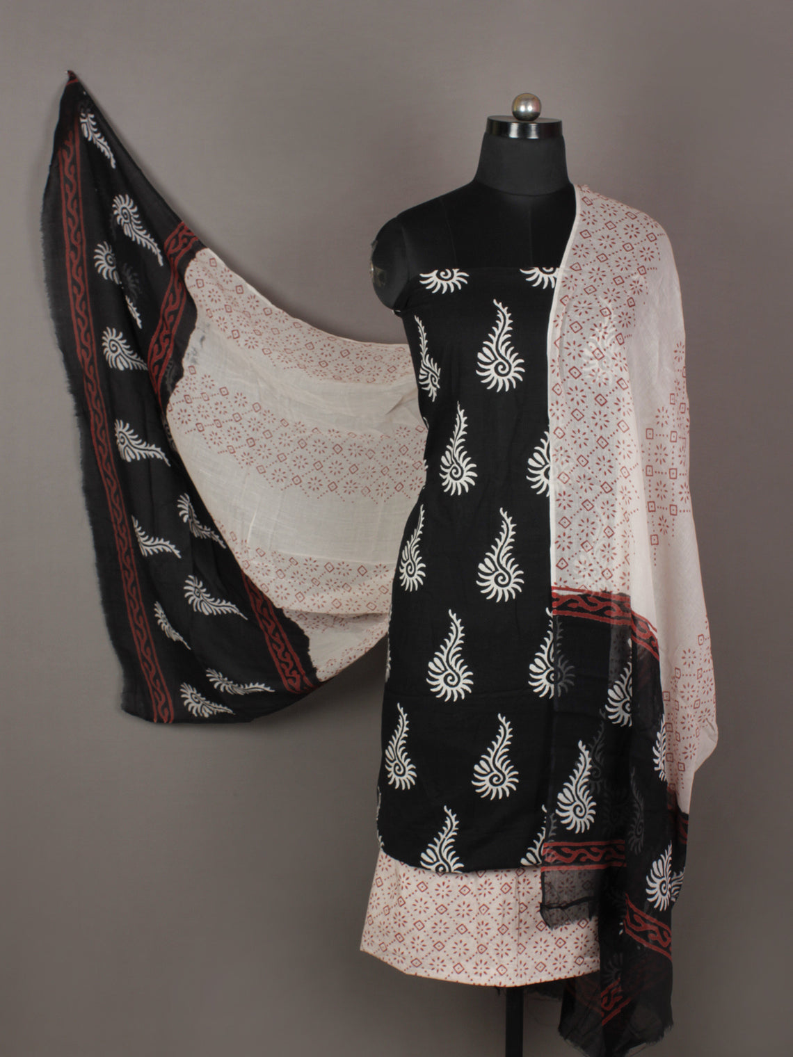 Black White Red Ivory Hand Block Printed Cotton Suit-Salwar Fabric & Dupatta - S1628189