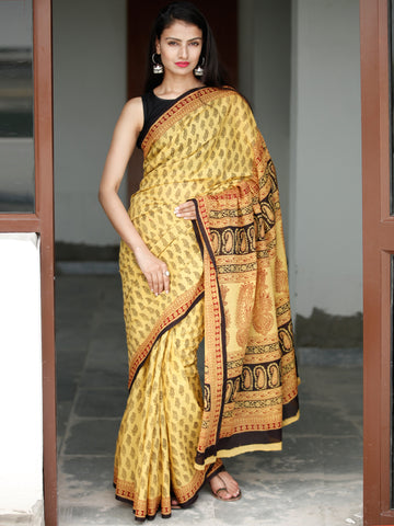 Yellow Maroon Black Bagh Hand Block Printed Cotton Saree - S031703818