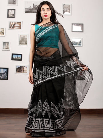 Black White Hand Block Printed Kota Doria Saree In Natural Colors - S031703192