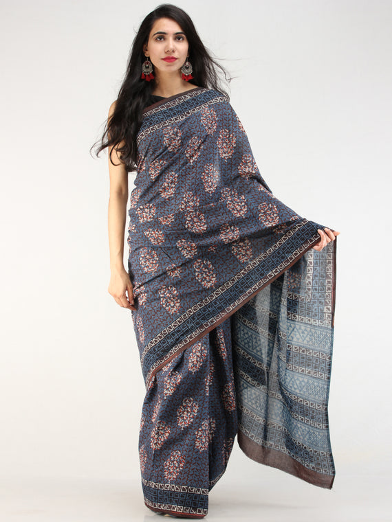 Indigo Rustic Hand Block Printed  Cotton Mul Saree - s031704539