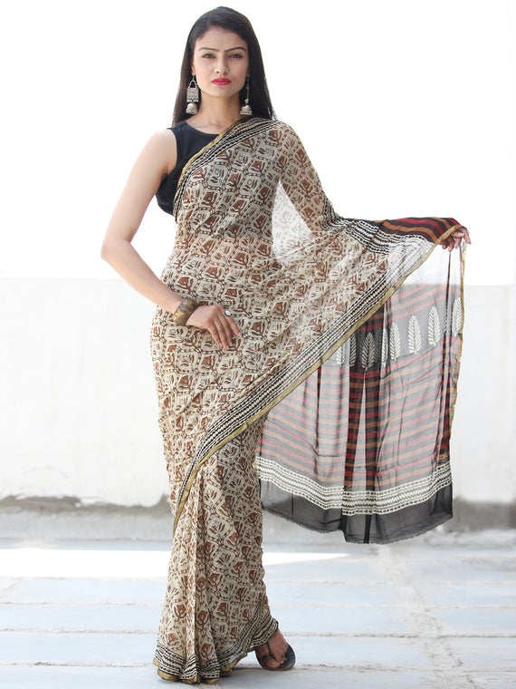 Ivory Rust Black Hand Block Printed Chiffon Saree with Zari Border - S031703912