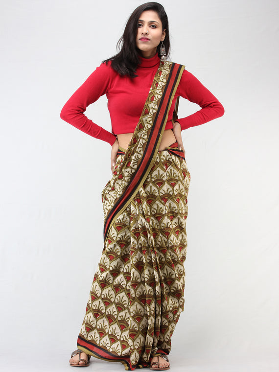 Olive Green Ivory Red Hand Block Printed Cotton Mul Saree - S031704453