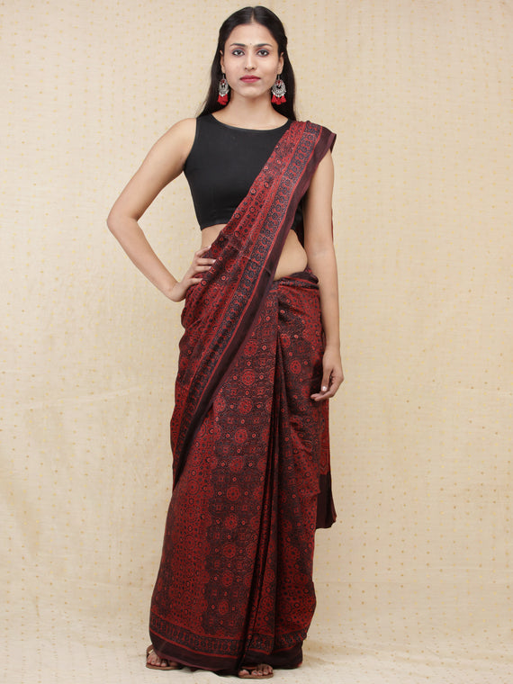 Crimson Red Black Dark Brown Ajrakh Hand Block Printed Modal Silk Saree - S031704151