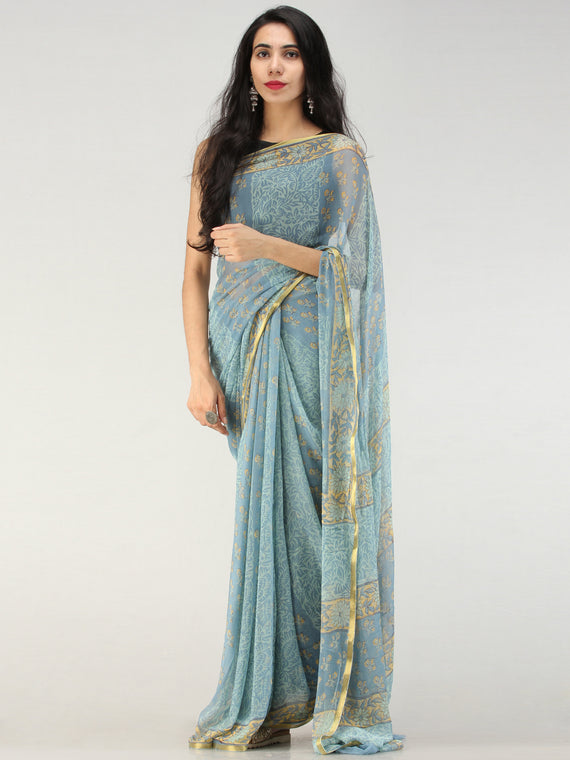Baby Blue Mustard Hand Block Printed Chiffon Saree with Zari Border - S031704554