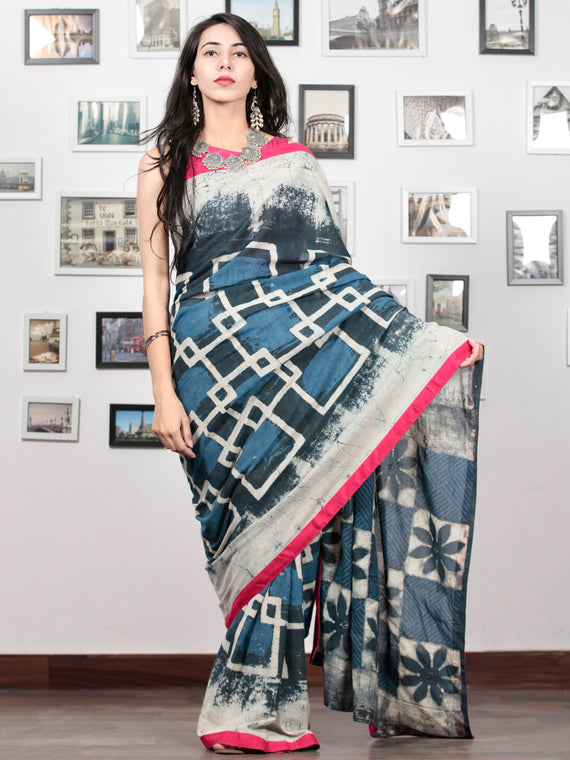 Indigo Grey White Hand Block Printed Cotton Mul Saree With Magenta Border & Mirror Work - S031703016