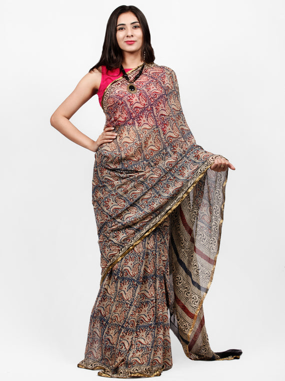Ivory Indigo Maroon Hand Block Printed Chiffon Saree with Zari Border - S031703233