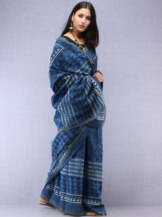 Indigo Ivory Hand Block Printed Chanderi Saree With Geecha Border - S031704505