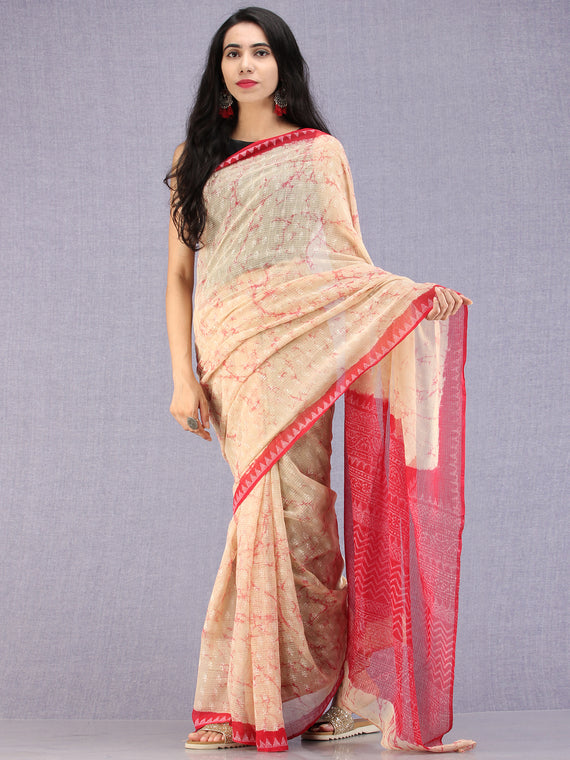 Apricot White Red Hand Block Printed Kota Doria Saree - S031704584
