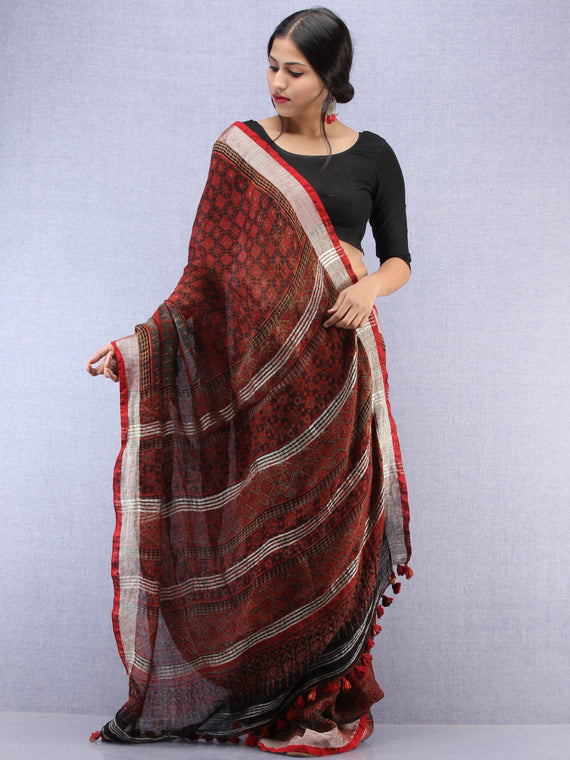 Brick Red Black Ajrakh Hand Block Printed Handwoven Linen Saree With Tassels And Zari Border - S031704451