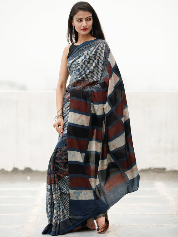 Indigo Ivory Maroon Black Ajrakh Hand Block Printed Cotton Saree in Natural Colors - S031703807