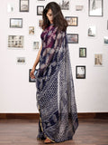 Indigo White Hand Block Printed Chiffon Saree with Zari Border - S031703154