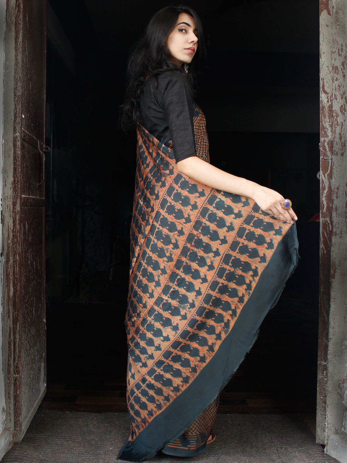 Lead Black Rust Ajrakh Hand Block Printed Modal Silk Saree in Natural Colors - S031703512