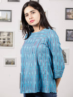 Light Blue White Red Hand Woven Ikat Cotton Top - T34F1447