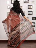 Red Beige Black Hand Block Printed Kota Doria Saree In Natural Colors - S031703477