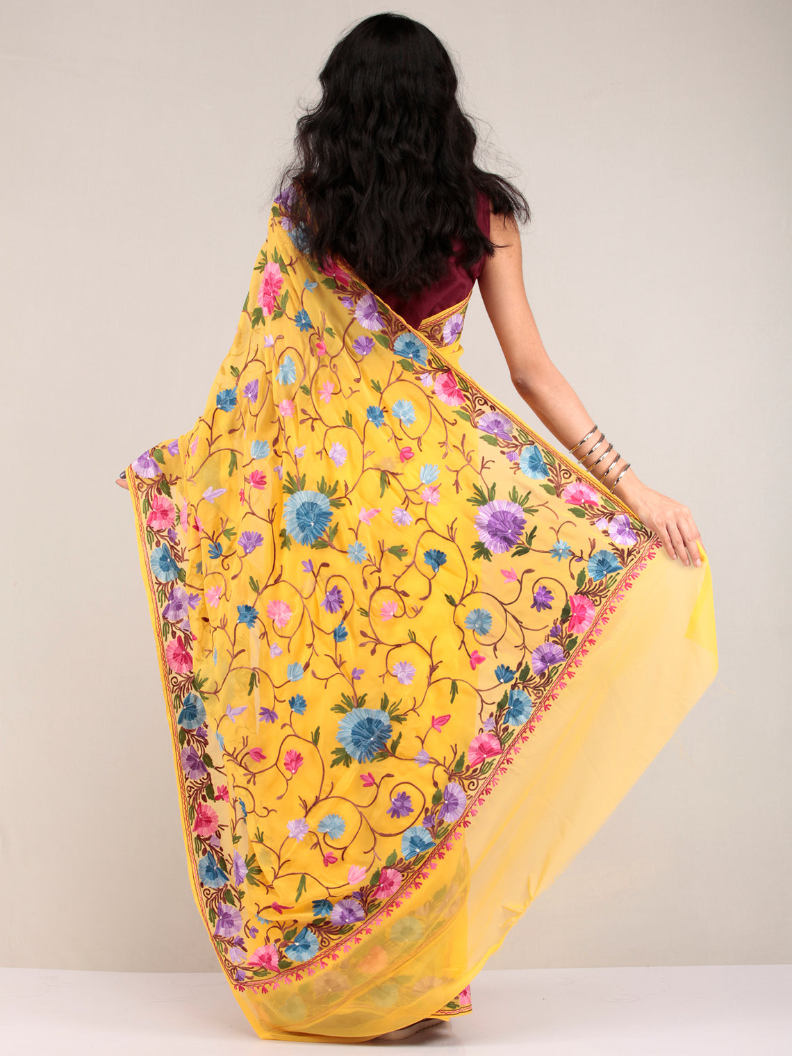Yellow Aari Embroidered Georgette Saree From Kashmir - S031704624