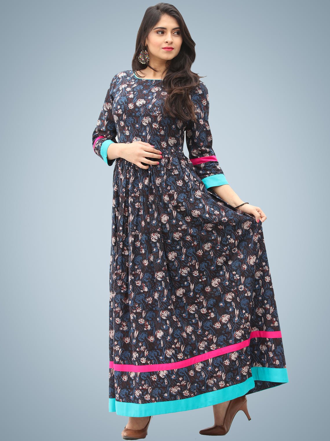 Nadya - Hand Block Printed Cotton Long Dress With Back Detailing - D136F1395
