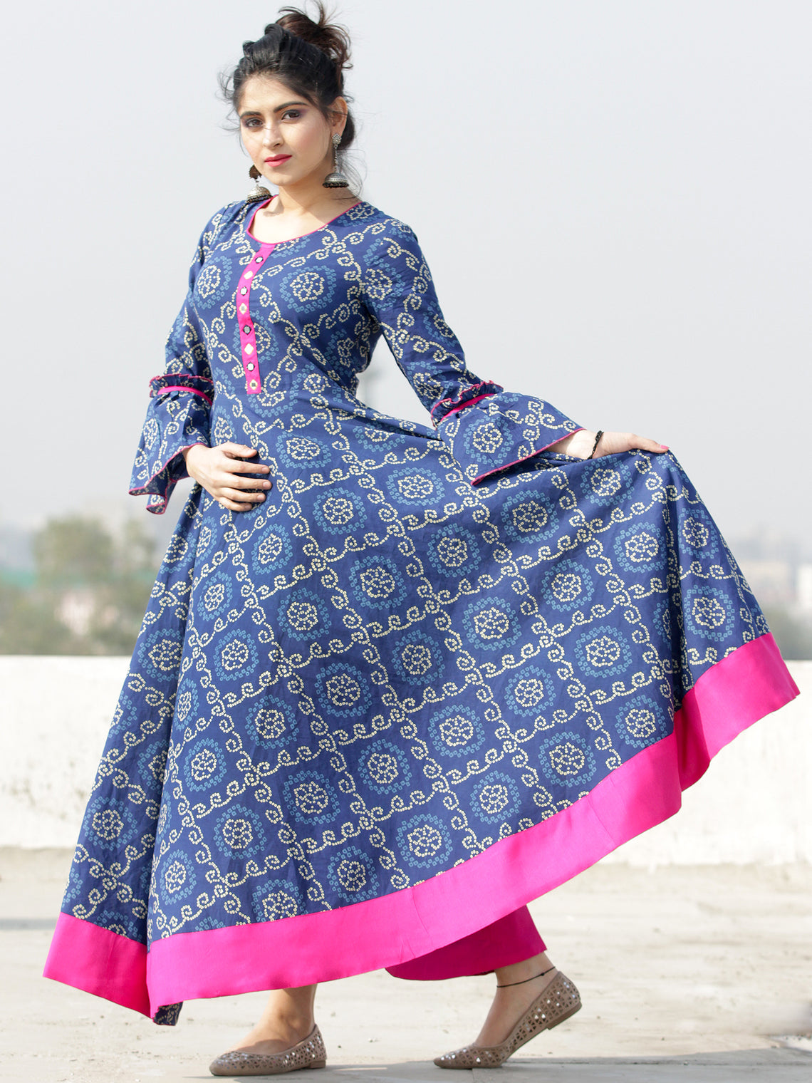 Maher - Indigo Bandhani Printed Urave Cut Long Dress  - D381F2054