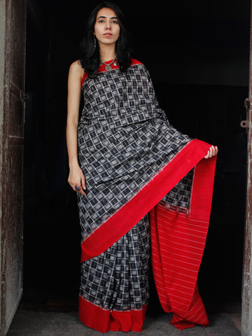 Black Grey Red White Double Ikat Handwoven Cotton Saree - S031703538