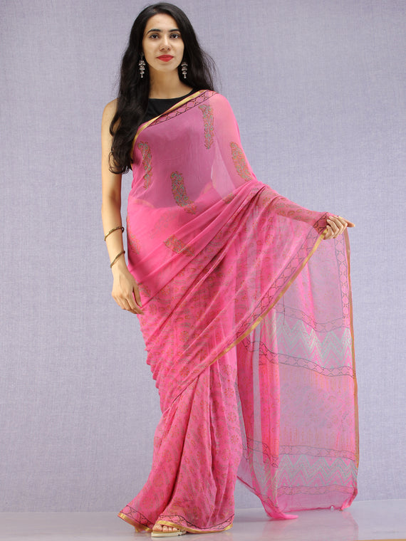 Pink Red Green Hand Block Printed Chiffon Saree with Zari Border - S031704609